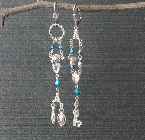 St Francis Asymmetrical Drop Earrings