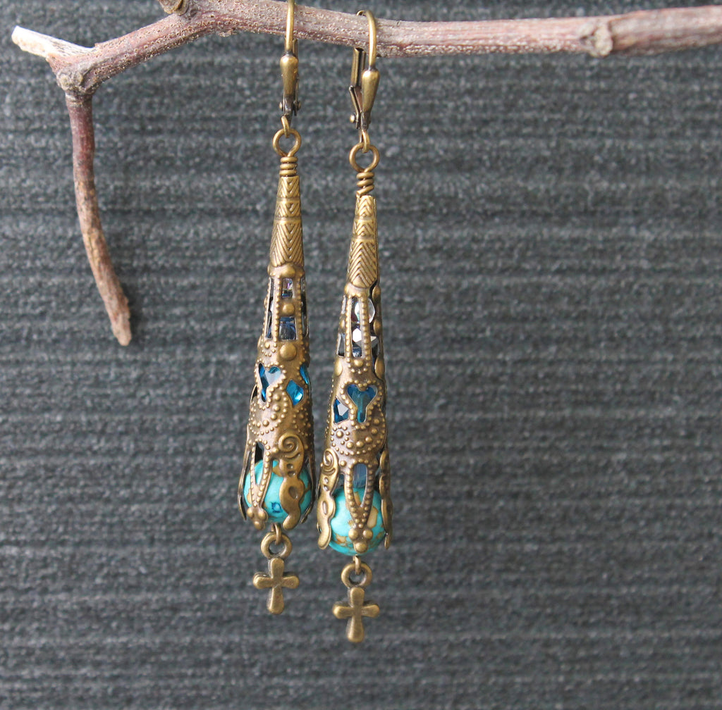 Tiny Cross Filigree Drop Earrings with Turquoise