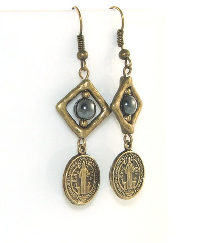 St Benedict drop earrings