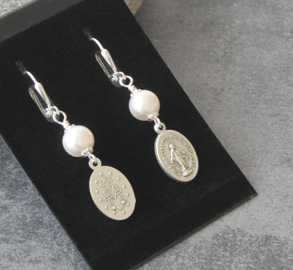 Swarovski parl Miraculous Medal drop earrings, New Zealand made