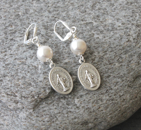 Virgin Mary earrings, white pearls Catholic jewelry