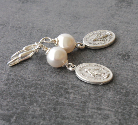 New Zealand Catholic shop, Mary Earrings, white pearls
