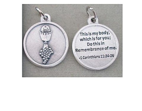 First Holy Communion Round Medal, Silver Pewter