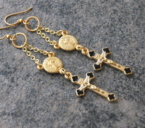 St Benedict Gold Drop Earrings