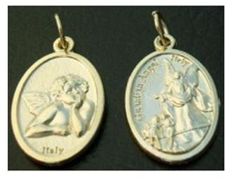 Guardian Angel & Cherub Medal, Gold Plated Pewter Catholic Medal