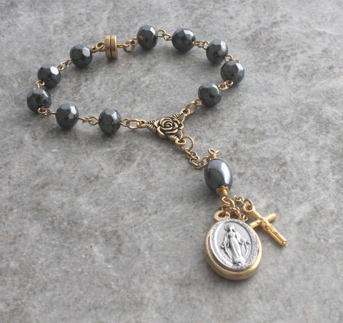 Car Rosary, Miraculous Medal, Hematite Travel Prayer Beads