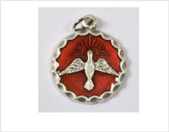 Confirmation Medal, Holy Spirit with Red Background