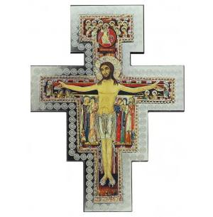 San Damiano wall cross, 5 inch, silver foil on wood