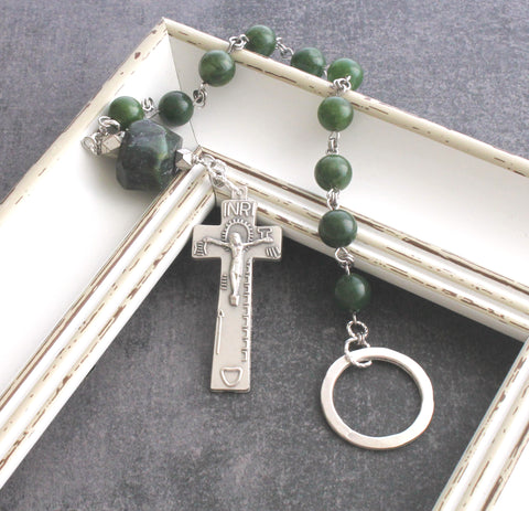 Irish Penal Rosary, Green Nephrite Jade, Celtic Cross & Pewter Thumb Ring