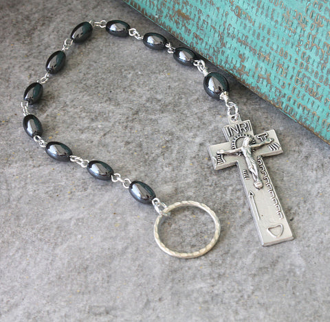 Irish pocket rosary, penal cross, hematite beads