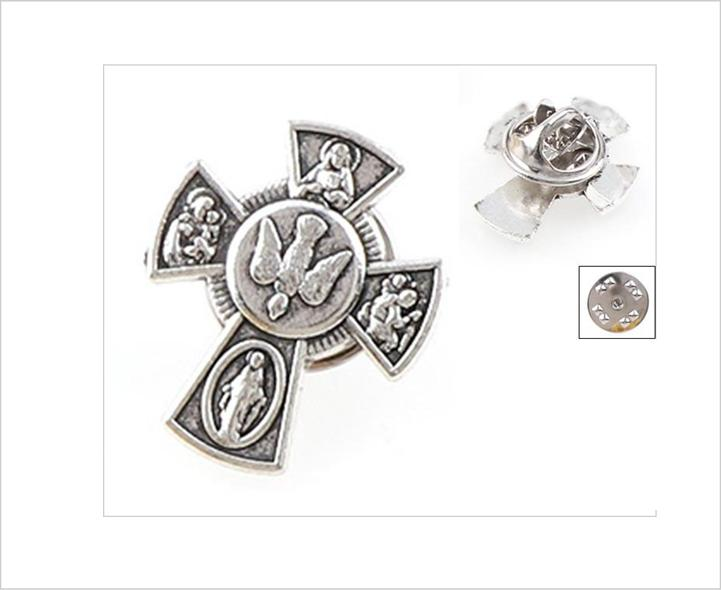 Lapel pin, Catholic 5 way cross collar pin brooch