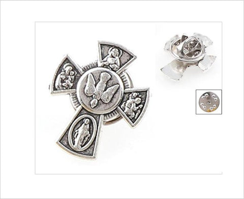 Lapel Pin, 5-Way Catholic Cross