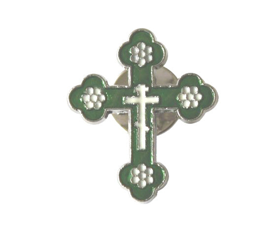 Cross pin for lapel, collar, green & white