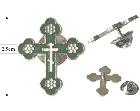 Cross Lapel Pin, White, Green & Silver