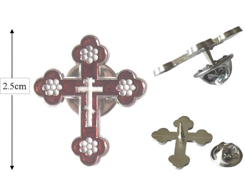 Cross Lapel Pin, White Red & Silver