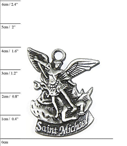 St Michael the Archangel Pendant on Black Link Chain