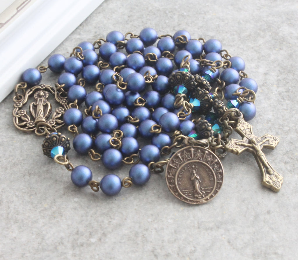 Stella Maris rosary blue Swarovski pearls NZ made