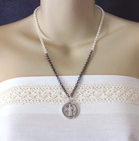 St Benedict Pendant Necklace, Silver & Black Chain
