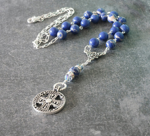Blue Jasper Rosary Style Necklace, Medieval Cross