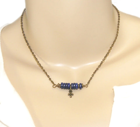 Christian Necklace, Lapis Lazuli with Tiny Brass Cross