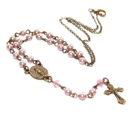 Rosary Necklace, Our Lady Medal, White or Pink Swarovski Pearls