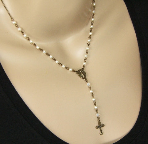 Rosary necklace, white Swarovski pearls
