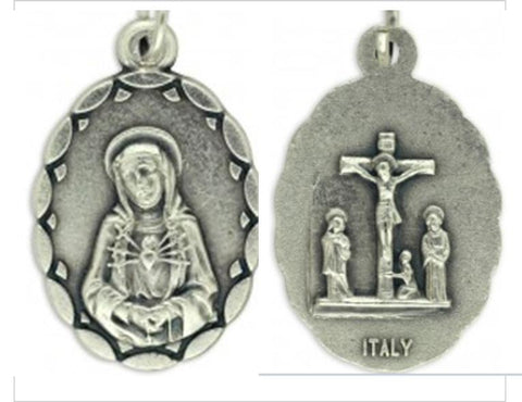 Our Lady of Sorrows Medal, Silver Pewter
