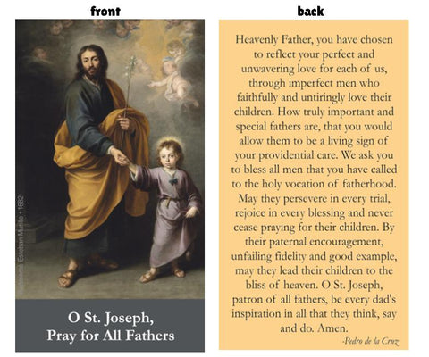Prayer Card - St Joseph, Prayer for Fathers