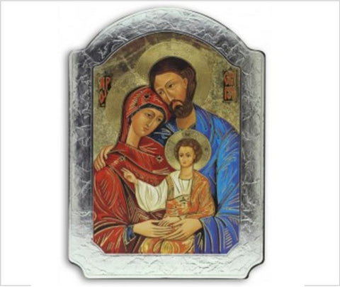Holy Family Icon, Gold & Silver Foil on Wood