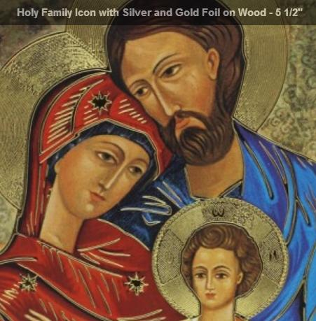 Religious icon art, Holy Family, foiled picture