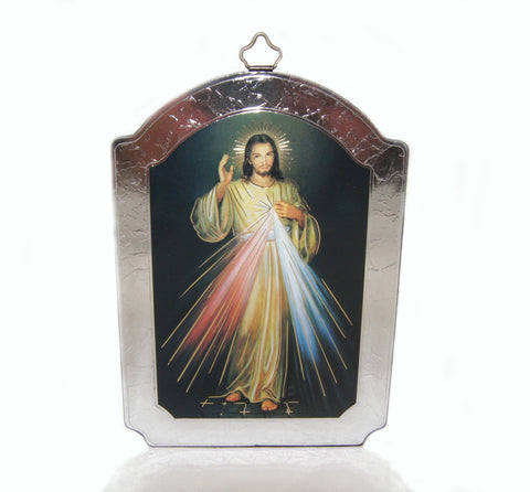 Divine Mercy Icon, Wall Hanging, Silver & Gold Foil