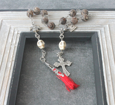 Pater Noster Rosary, Middle Ages Style with Memento Mori & Tassel