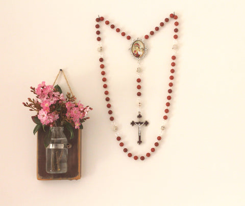 Large Memento Mori Rosary, Red Coral Beads, Our Lady of Tenderness Center