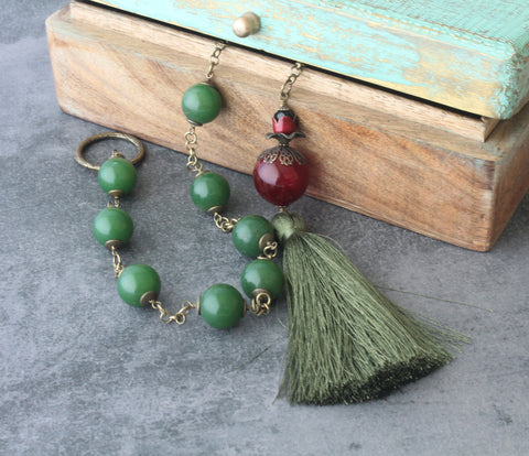Paternoster Rosary, Renaissance Style Green Jade & Glass, Large Size