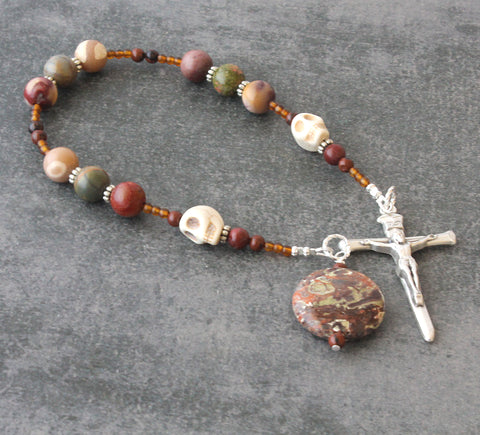 Memento Mori Niner Chaplet, Jasper Beads & Nails Cross