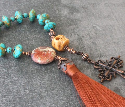 Renaissance rosary with tassel and memento mori