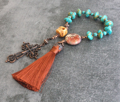 Turquoise Paternoster Rosary with Memento Mori & Tassel