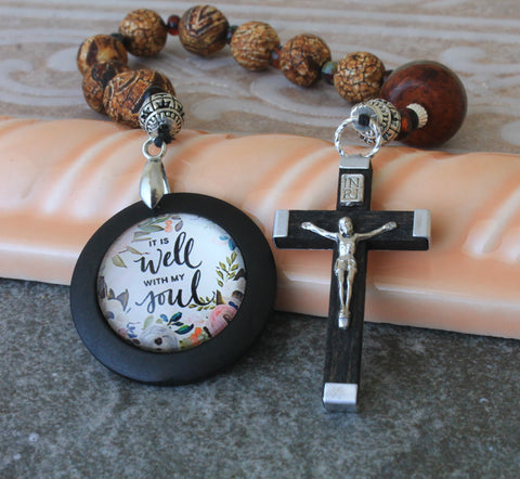 Niner Rosary, Agate Beads, Christian Devotion Prayer Beads