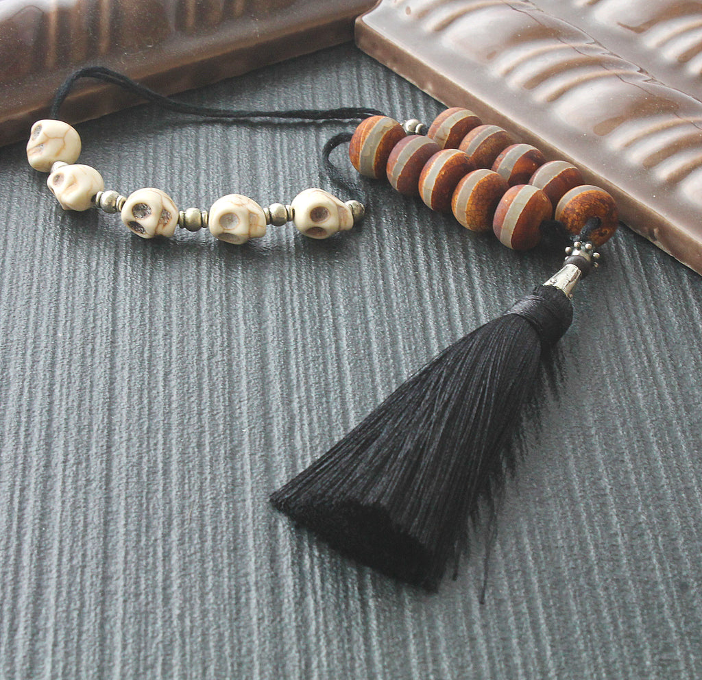 Paternoster Middle Ages mans renaissance prayer beads, memento mori and tassel, handmade in New Zealand