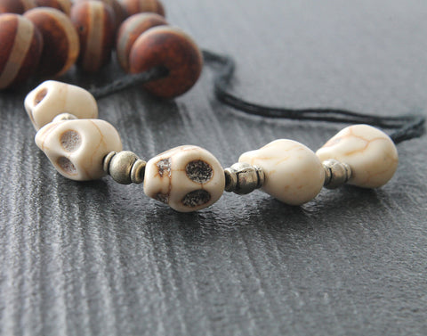 Memento mori paternoster rosary, skull beads handmade middle ages pater noster