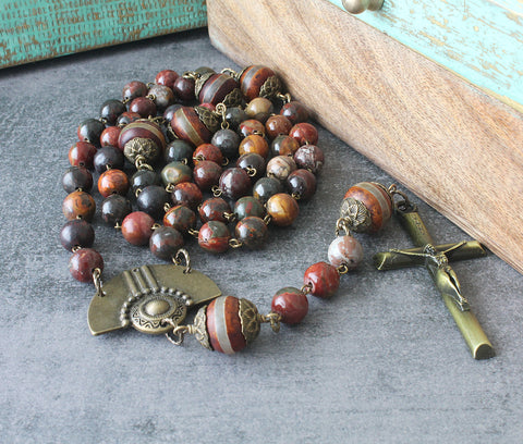 Renaissance rosary, agate beads, large display rosary