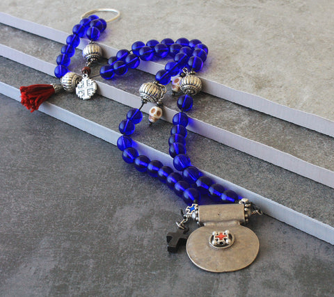 Renaissance historic rosary, Crusader's prayer beads with memento mori, blue glass beads