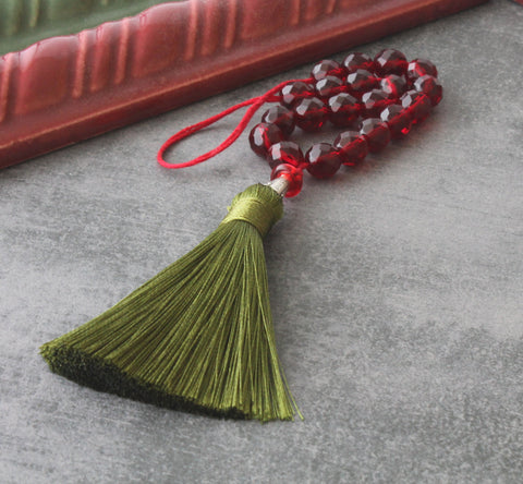 Paternoster Prayer Beads with Green Tassel - Renaissance Revival