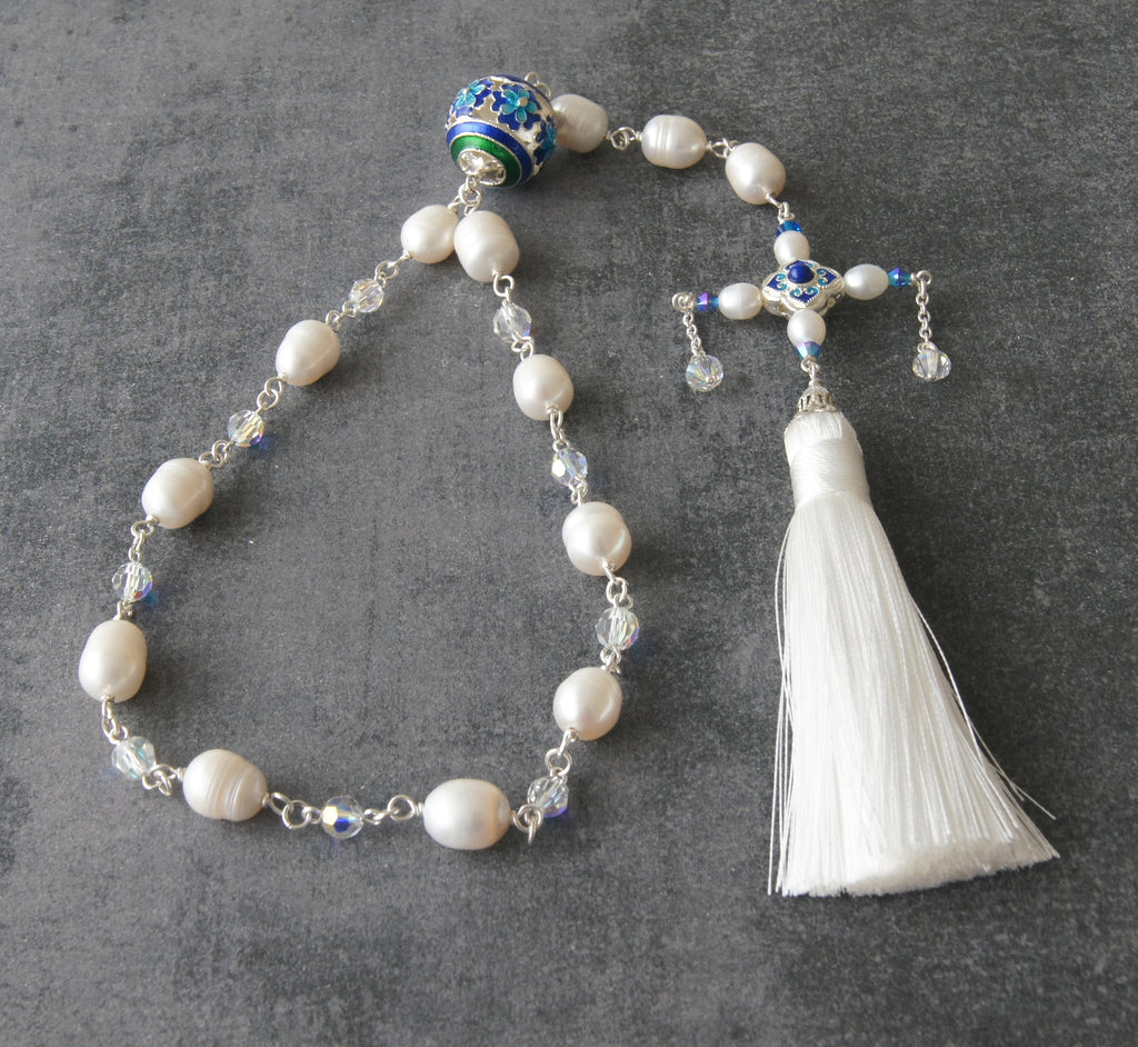 Renaissance paternoster for wedding, white pearls, Swarovski crystals, tassel
