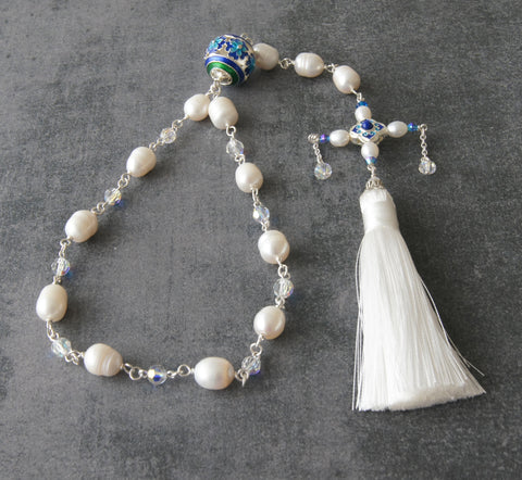 Wedding Paternoster, Natural Pearls & Swarovski Crystals, Credo Cross, White Tassel