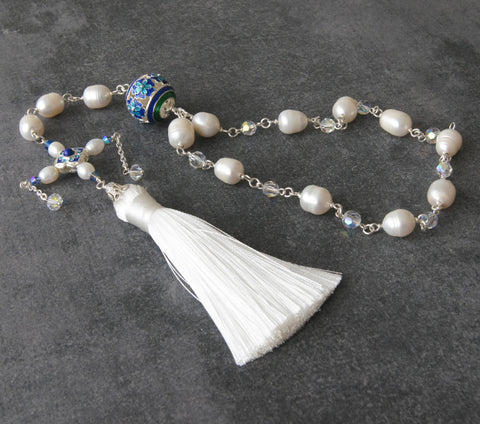 Middle Ages brides rosary, white blue, New Zealand original design