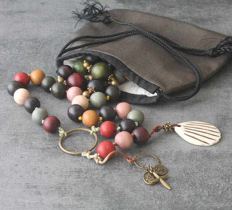 Pilgrim's Paternoster Rosary, Large Wood Beads, St James Shell Emblem
