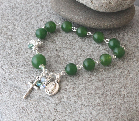 Our lady of Guadalupe Divine Mercy rosary bracelet green jade
