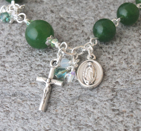 Greenstone rosary bracelet, Our Lady of Guadalupe