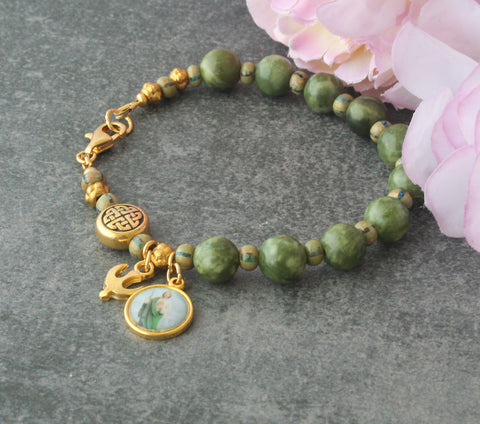 Saint Jude rosary bracelet, green jasper, New Zealand made